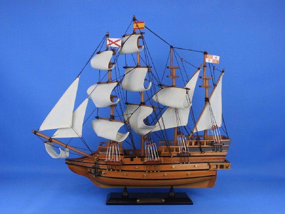 "Wooden Spanish Galleon Tall Model Ship 20"" - 7"