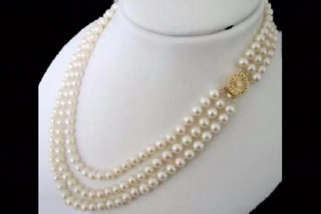 3 Rows 8-9mm natural white Freshwater pearl necklace