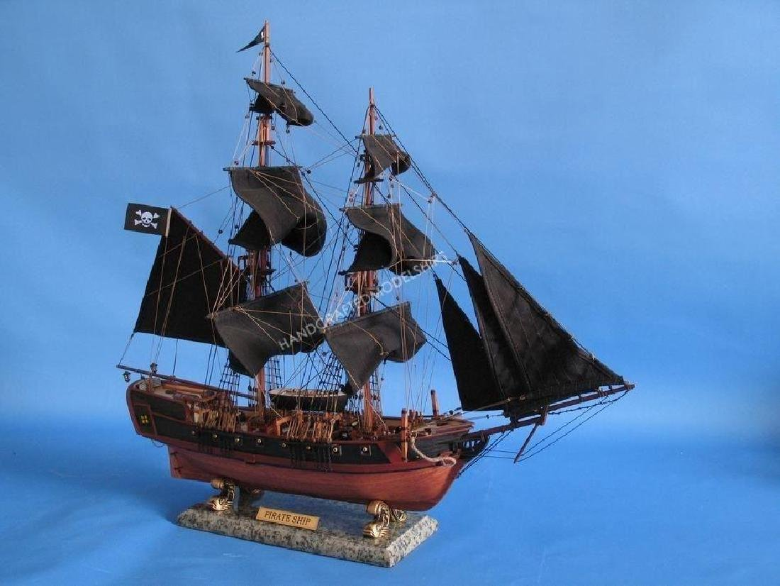 """Wooden Caribbean Pirate Ship Model Limited 26"""" - Black - 6"""