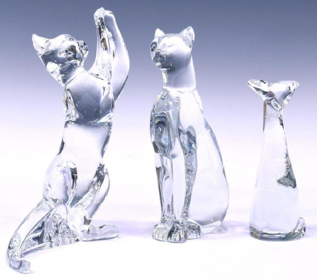 Vintage Estate Baccarat Crystal Cat Figurines