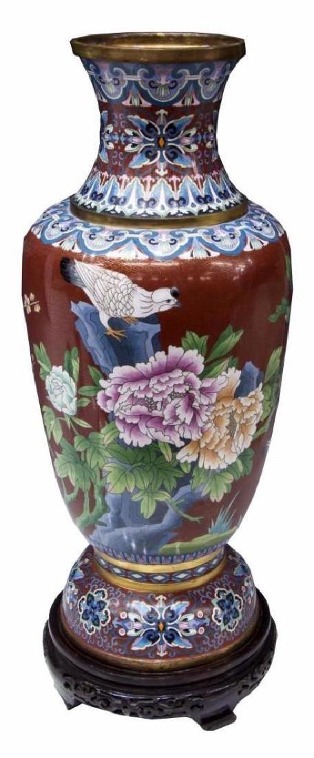 """Large Baluster Form Cloisonne Vase, 26""""h"""