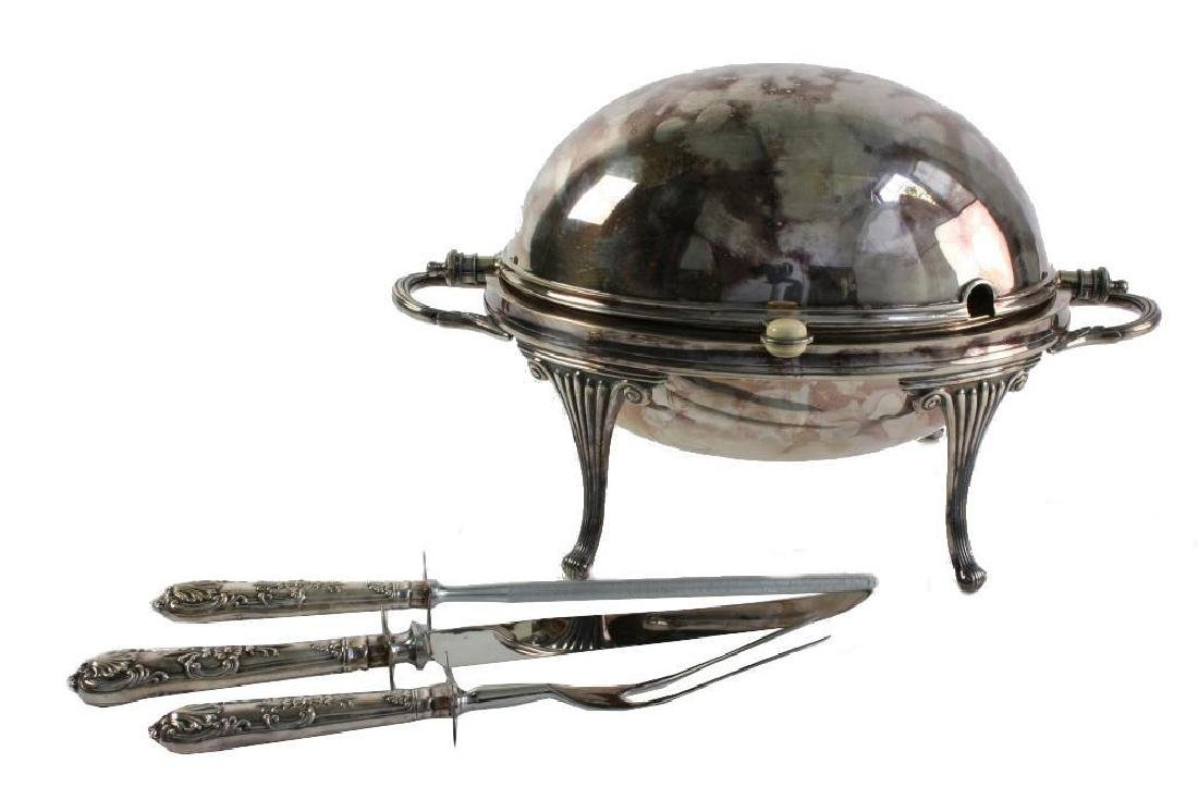 English Silver Chafing Dish, Sheffield Carving Set