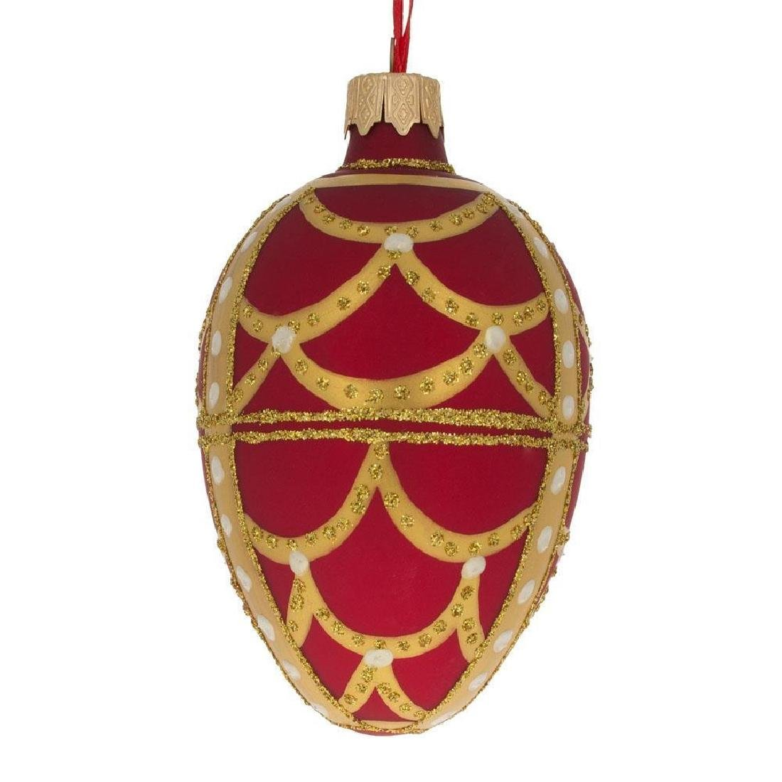 "Faberge Inspired 4"" Gold Arches On Red Egg Glass"