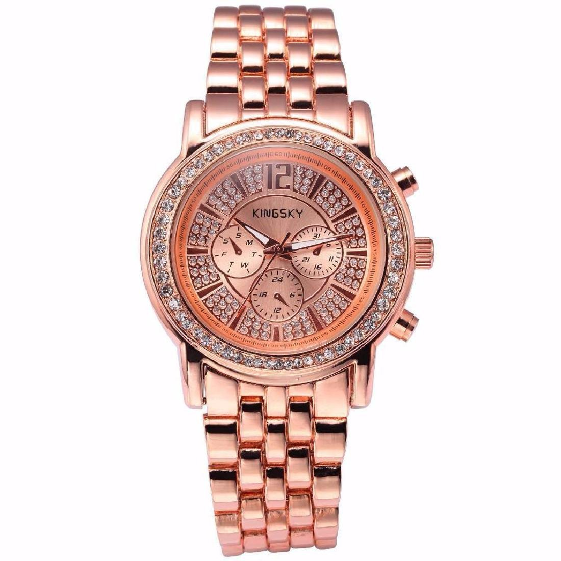 Ladies Rose Gold Crystal Bracelet Wristwatch