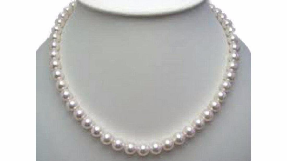 """8mm - Akoya White Shell Pearl Gold Clasp Necklace. 18"""""""