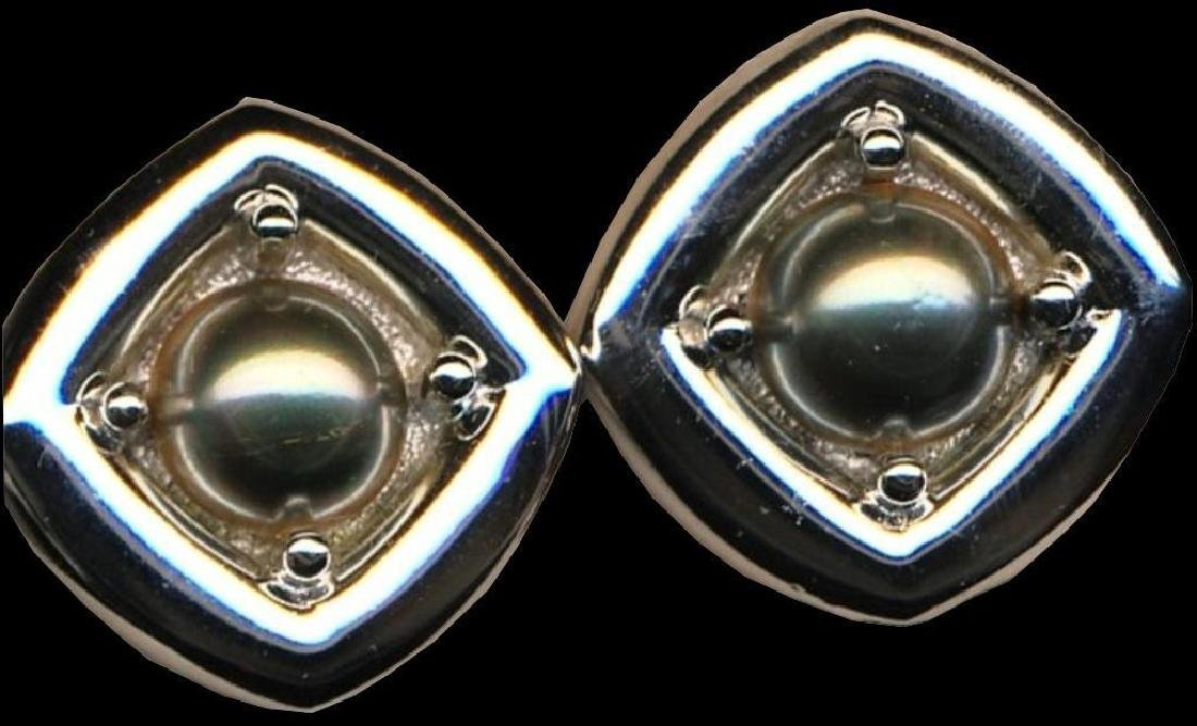 Signed Christian Dior Rhodium Clip-on Earrings