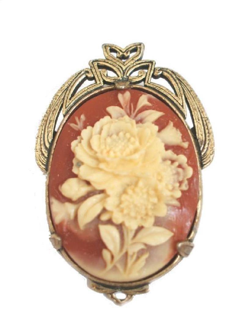 Vintage Carved Floral Brooch Pendant