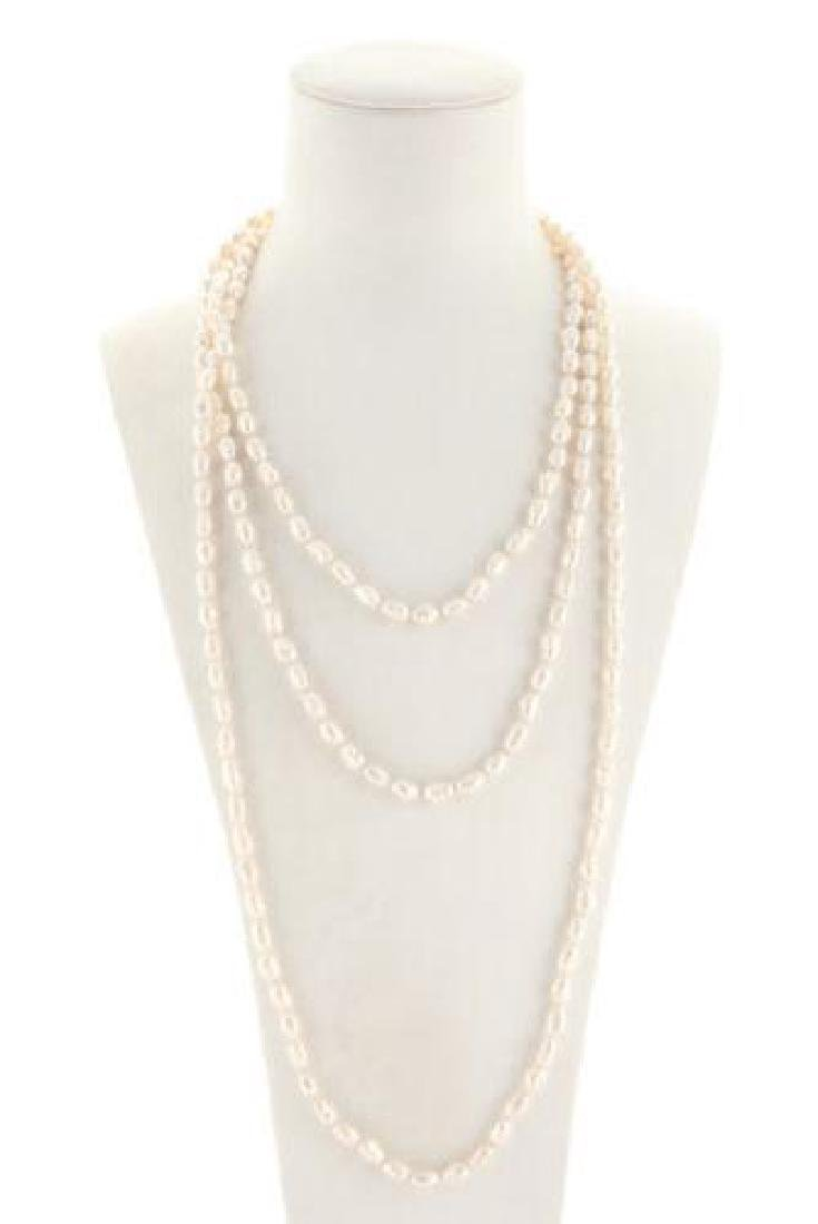 Designer White Fresh Water Pearl Strand Necklace