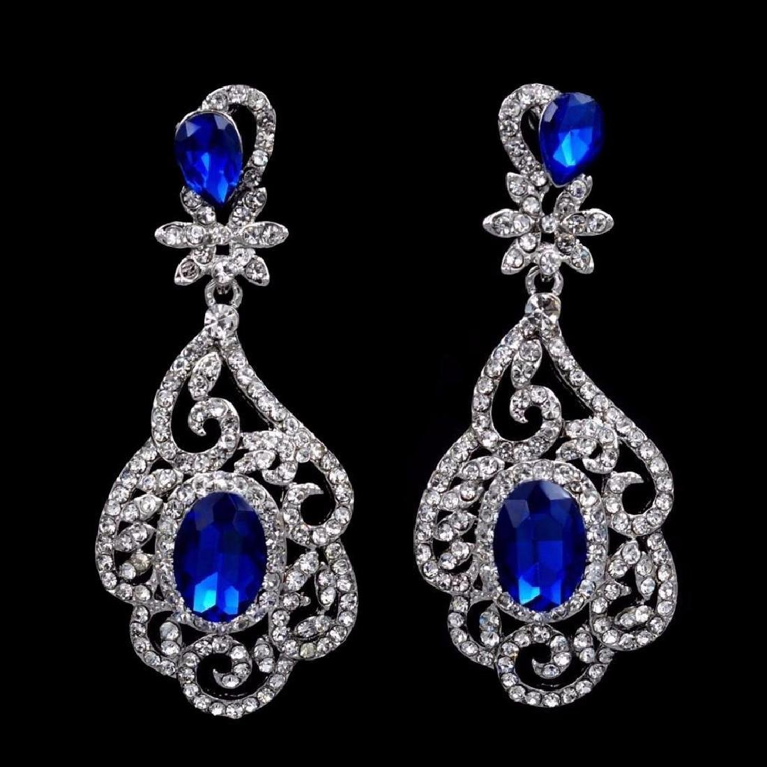 Rhodium Plated Blue Crystal Rhinestone Drop Dangle