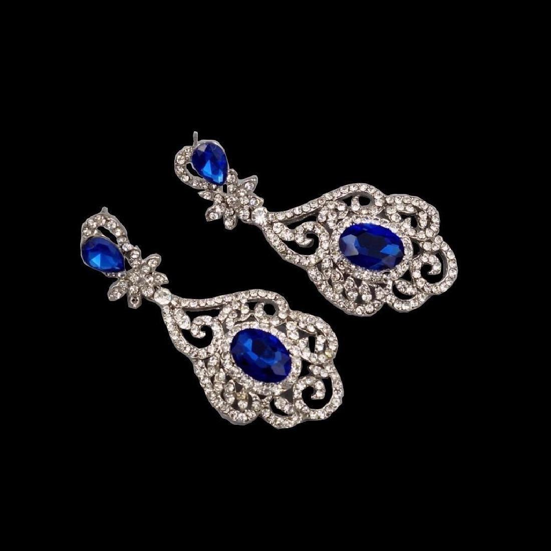 Rhodium Plated Blue Crystal Rhinestone Drop Dangle - 2