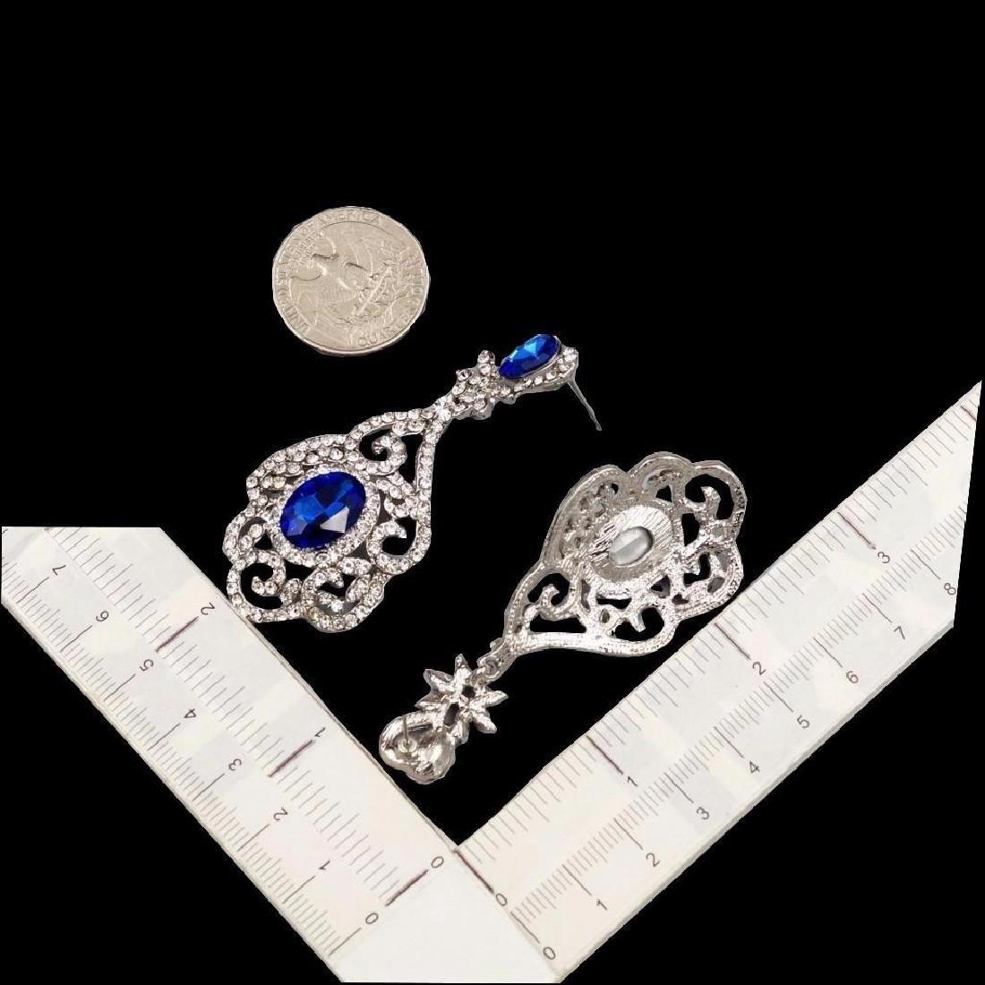 Rhodium Plated Blue Crystal Rhinestone Drop Dangle - 3