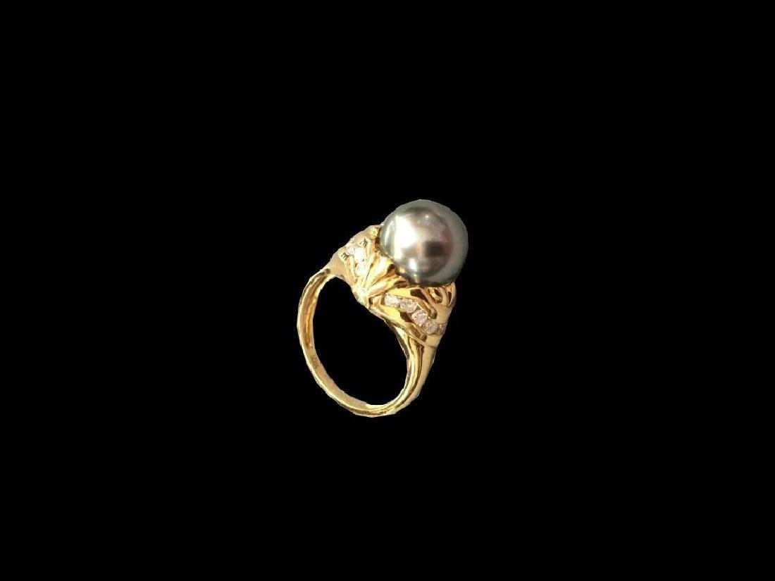 Art Deco 18kt Gold Tahitian Pearl & Diamond Ring - 2
