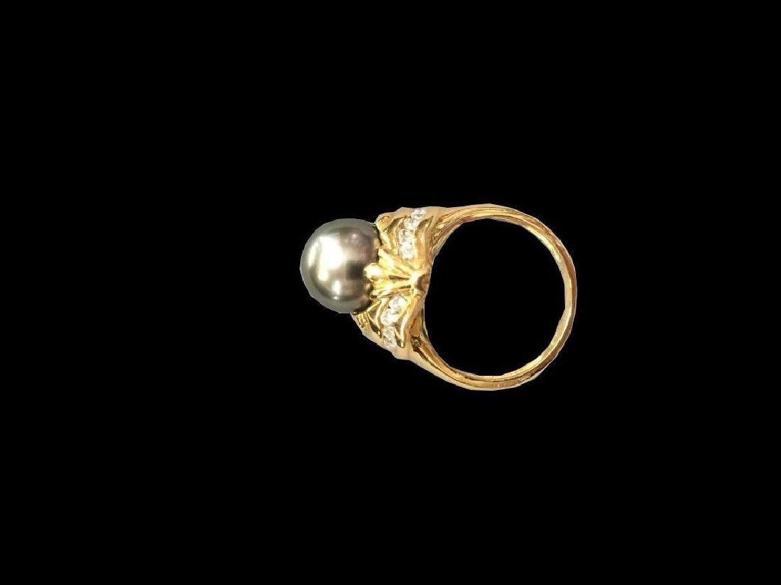 Art Deco 18kt Gold Tahitian Pearl & Diamond Ring - 3