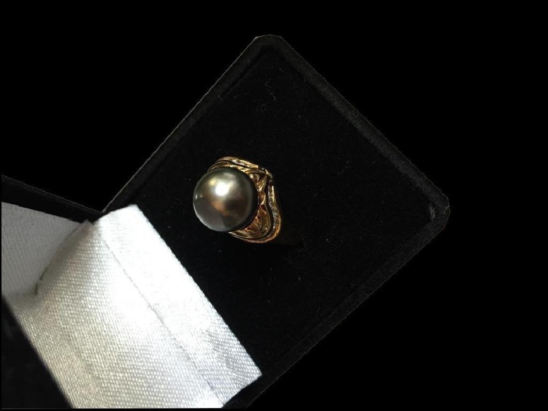 Art Deco 18kt Gold Tahitian Pearl & Diamond Ring - 4