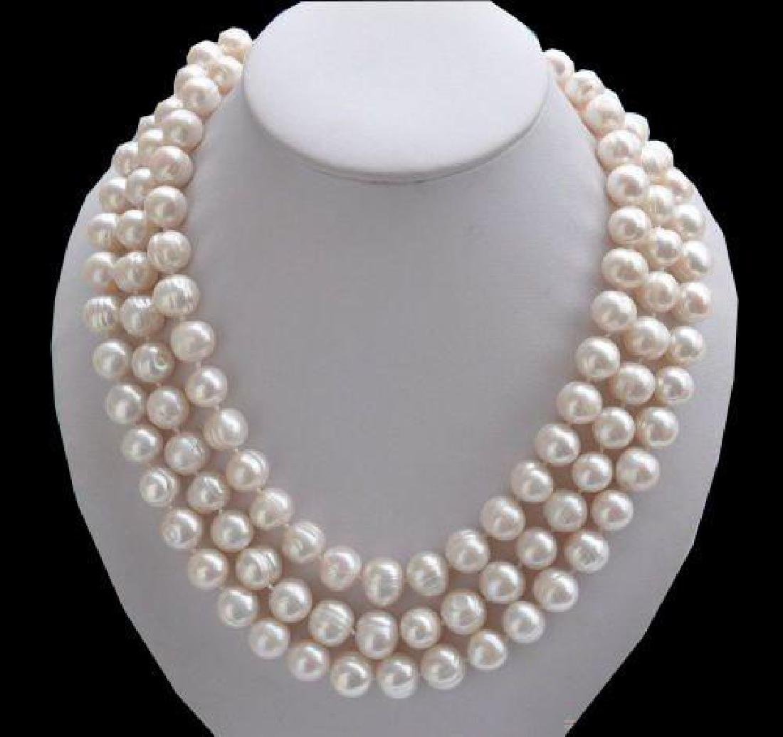 50inch 9-10mm South Sea White Baroque Pearl Necklace