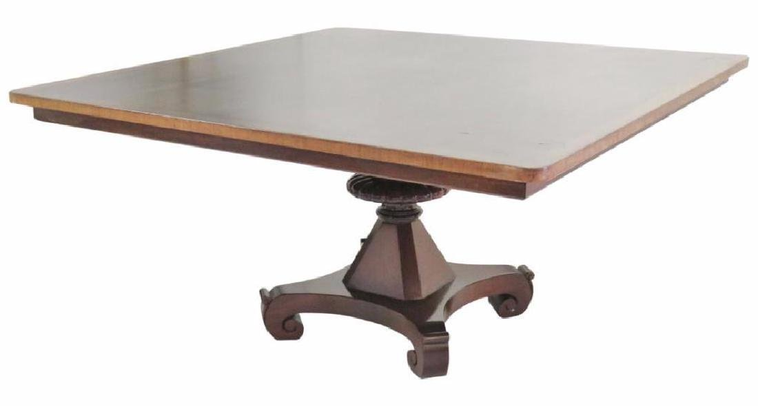 Empire Style Walnut Banded Dining Table