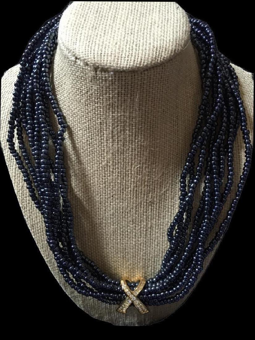 Designer Black Seed Pearl Torsade Necklace