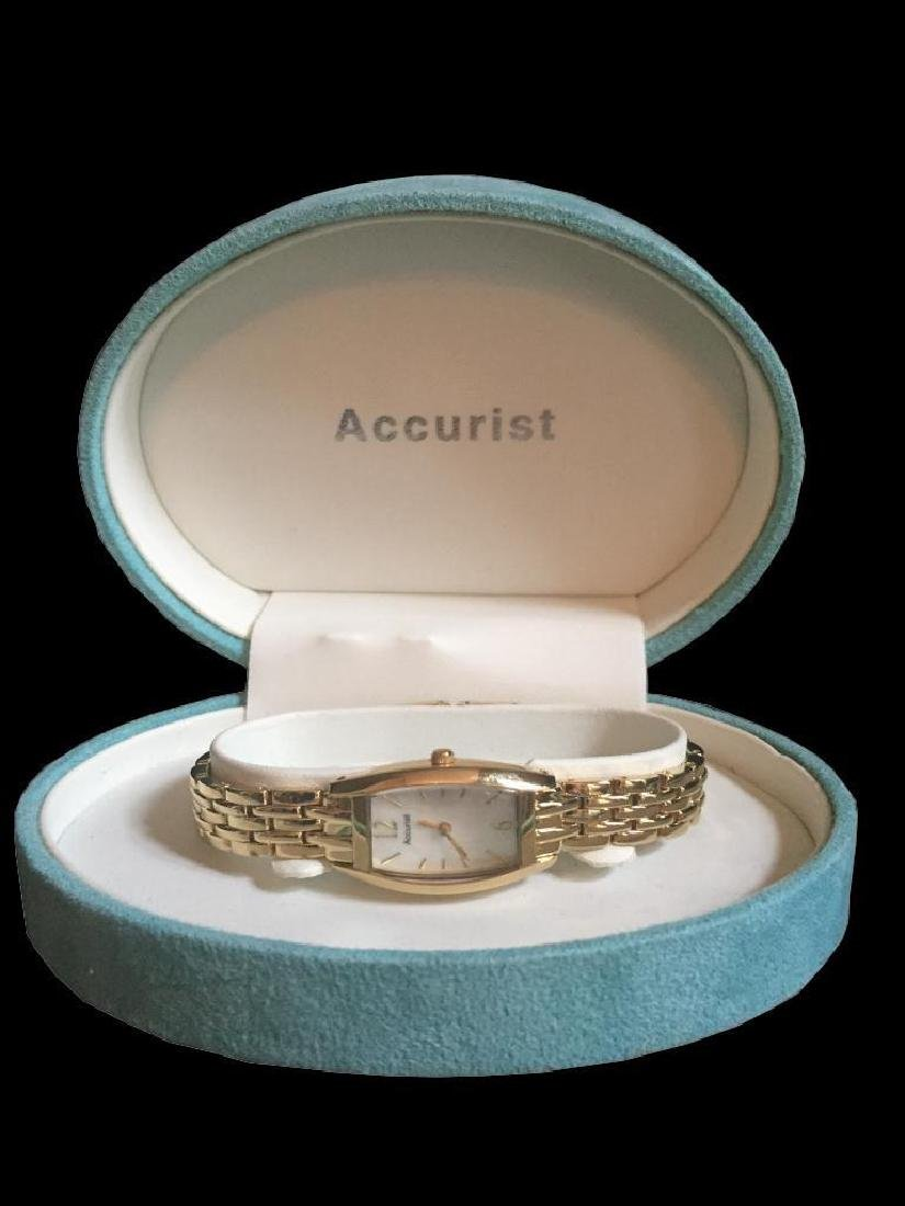 Ladies Gold Mother Of Pearl Accurist Wristwatch