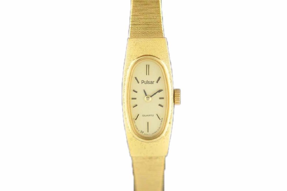 Vintage Ladies Gold Tone Pulsar Quartz Wrist Watch