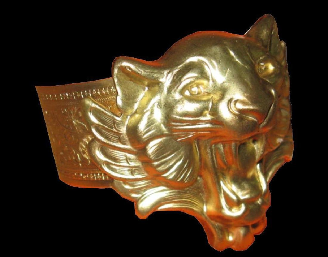 Vintage Brass Tiger Cuff Bracelet