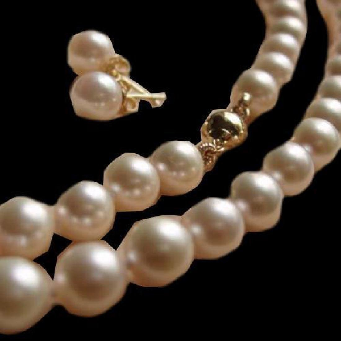 7-8MM AAA White Akoya Pearl Necklace + Earring 14K