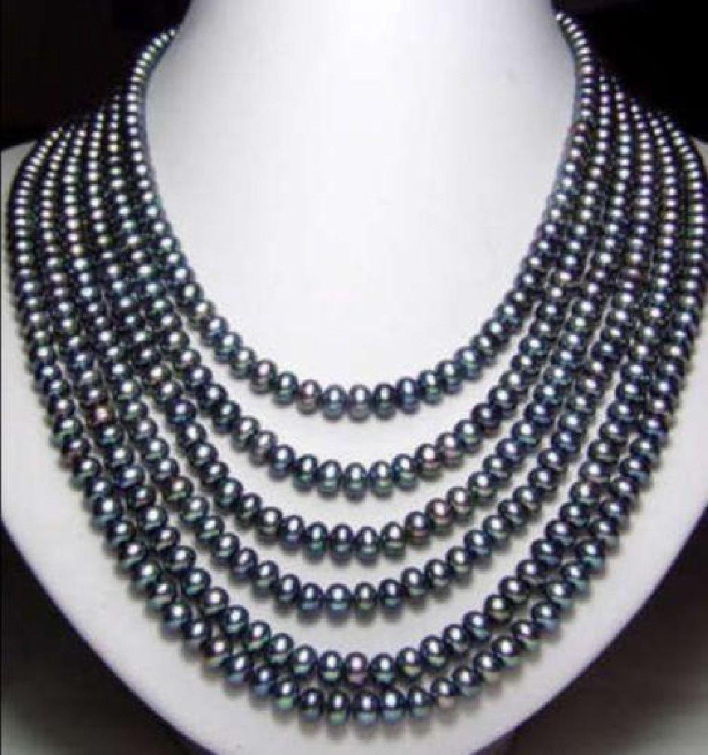 "Long 130"" 7-8mm Black Akoya Cultured Pearl Necklace"