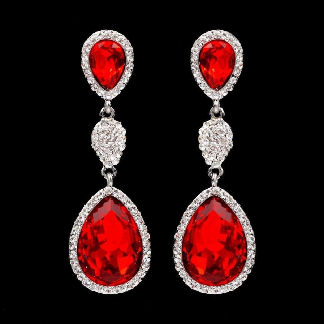 Rhodium Plated Red Crystal Rhinestone Chandelier Drop
