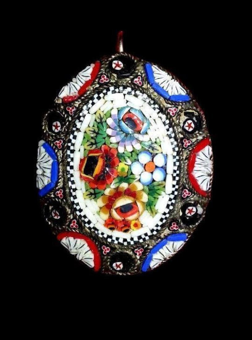 Antique Italian Glass Micro Mosaic Pendant