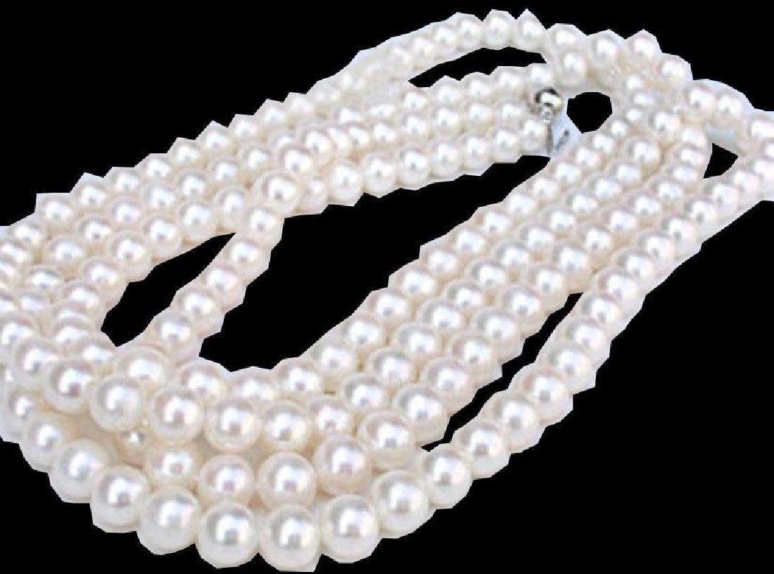 """Round AAA 7-8MM white Akoya pearl necklace 50"""""""