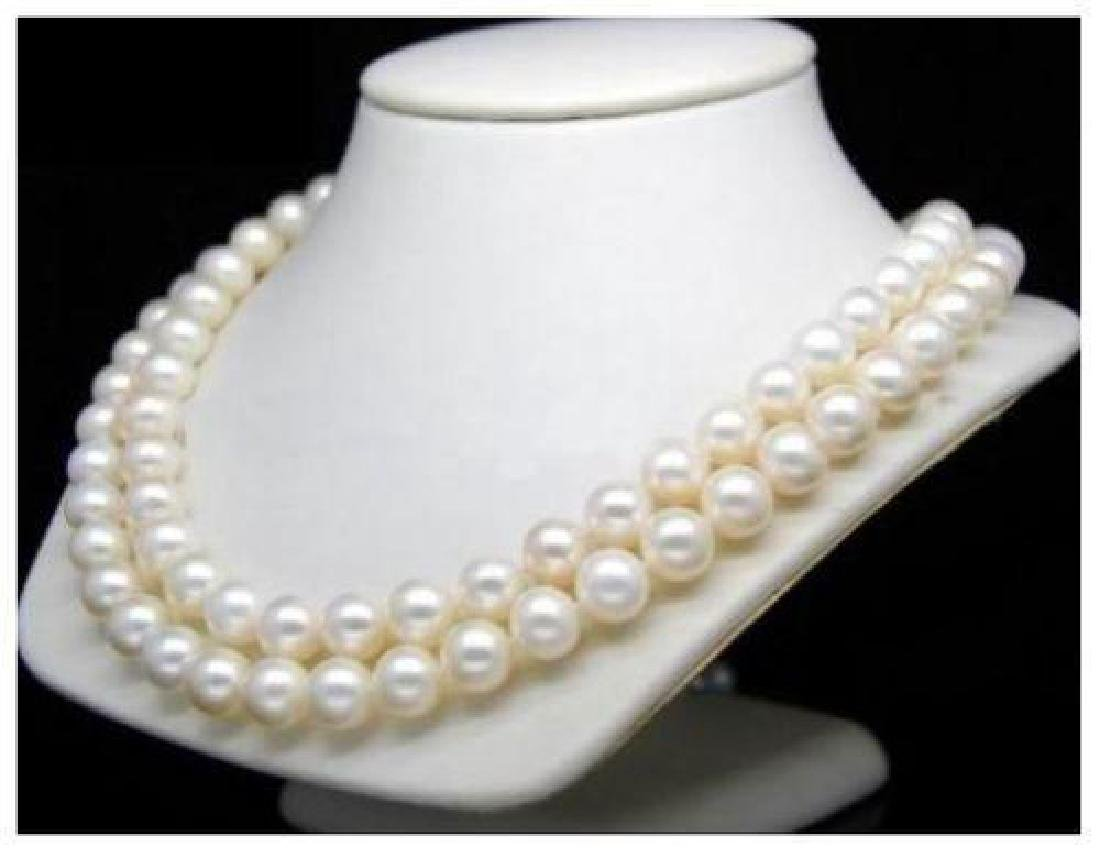 "Aaa+ 36""l 9-10mm White South Sea Pearl Necklace 14k"