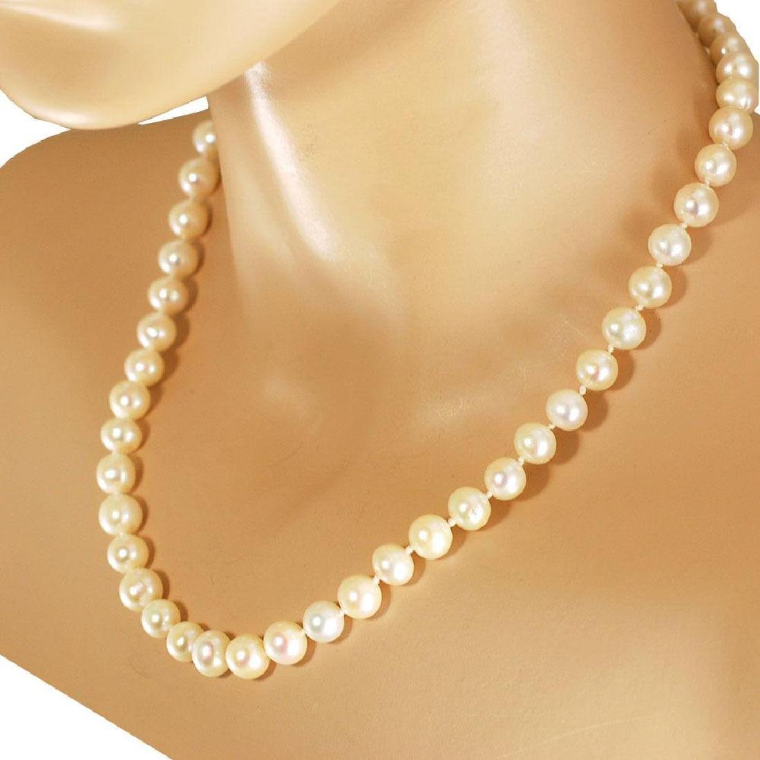 White Freshwater Pearl Hand Knot 10k Gold Clasp