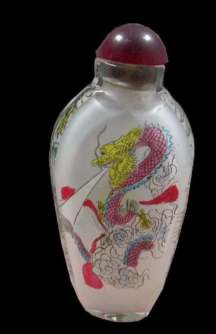 Reverse Painted Glass Dragon Pocket Snuff Bottle