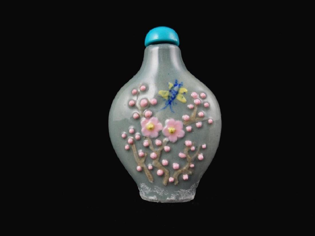 Molded Porcelain Floral Snuff Medicine Bottle
