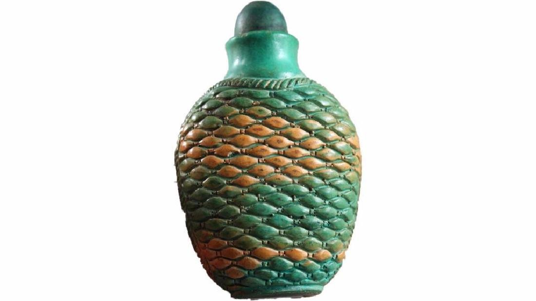Chinese collection hand carved Fish scales pattern old
