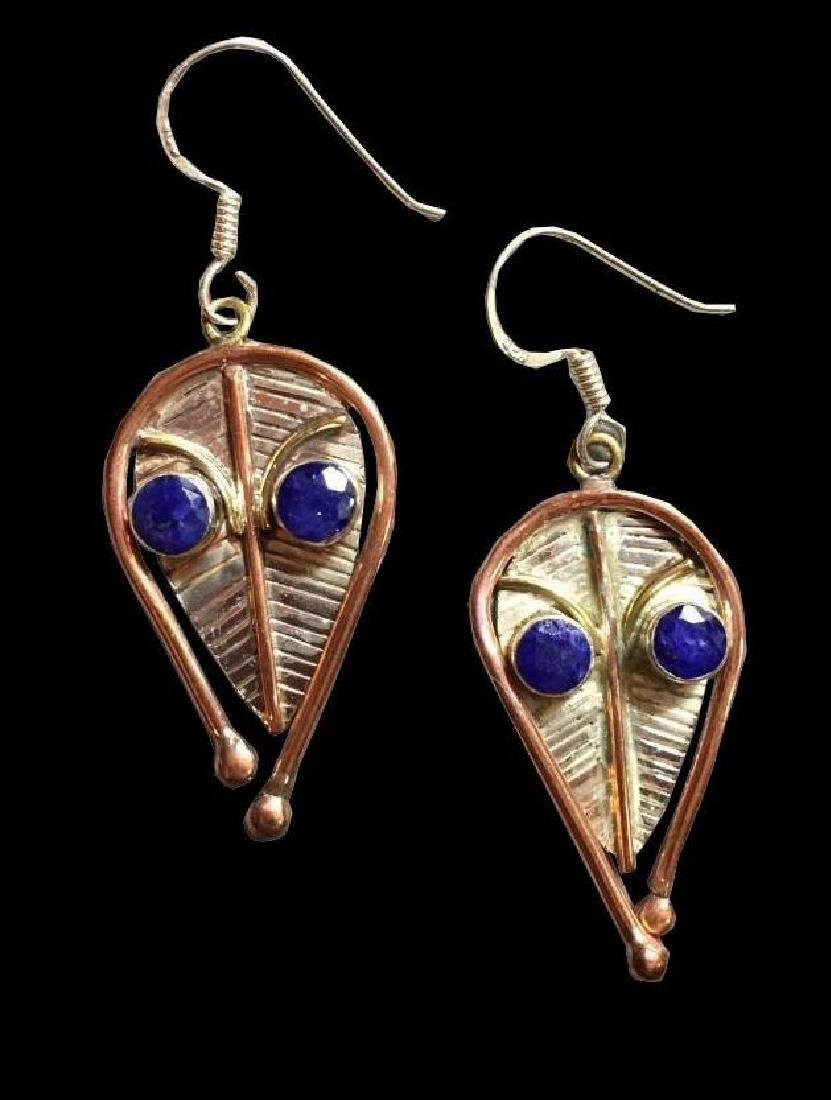 Sapphire Sterling & Copper Abstract Leaf Earrings