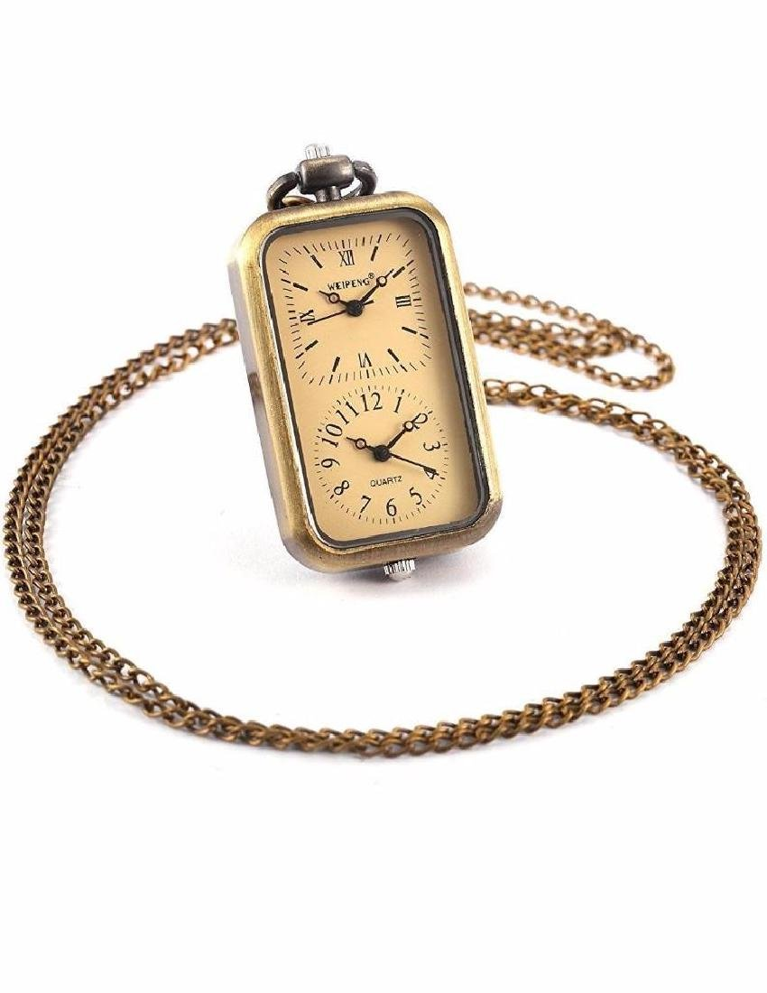 Ladies Brass Dual Time Oblong Pocket Watch Pendant
