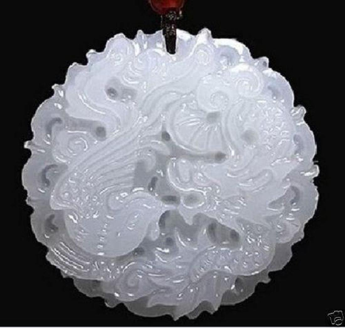 natural hand-carved Chinese jade pendant - dragon