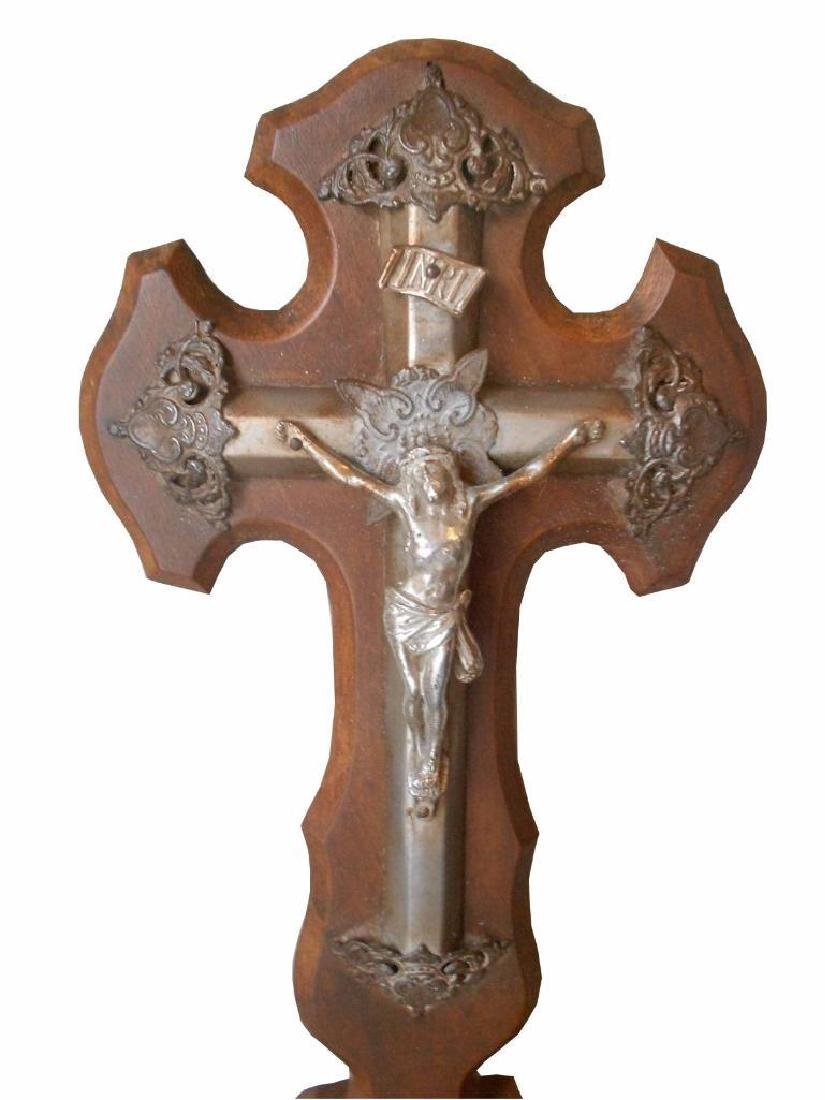 Antique French Hand Carved Walnut Cross Panel & Christ