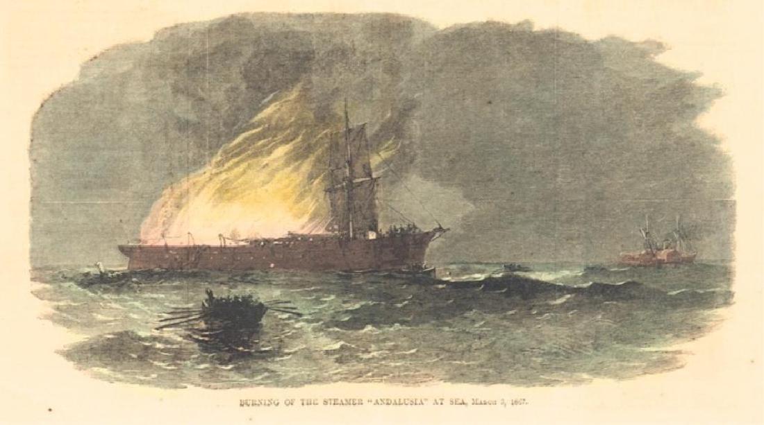 19thc Hand-colored Engraving, Civil War Steamship