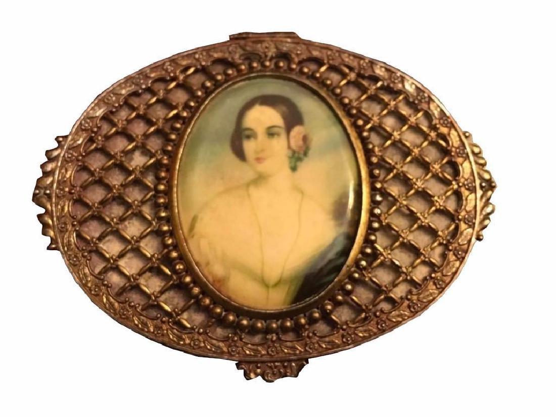 Antique Bronze And Gold Gilt Miniature Portrait Trinket