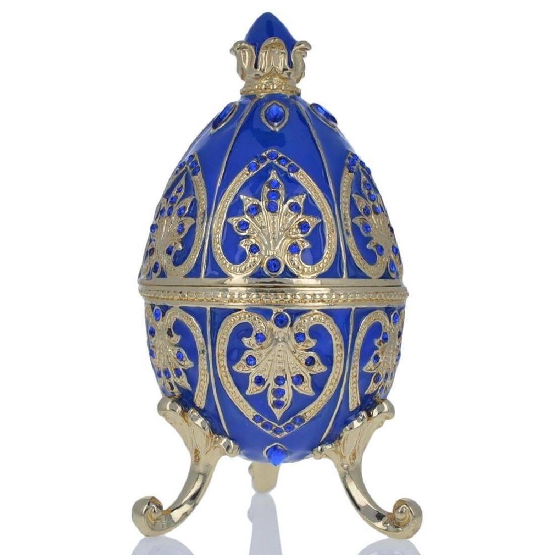 "4.5"" Blue Jewel Royal Crown Faberge Inspired Easter Egg"