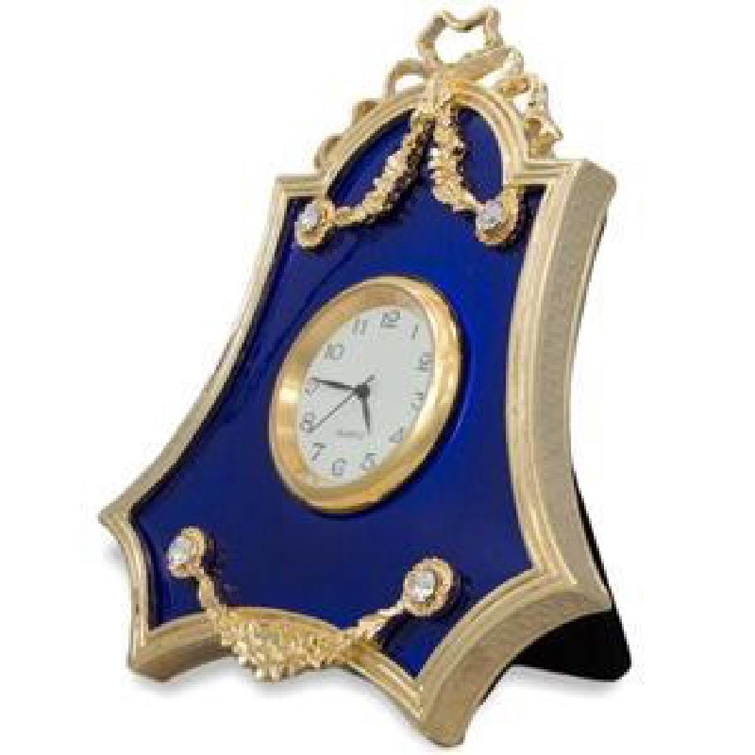 Faberge Inspired, Royal Blue Guilloche Enamel Russian