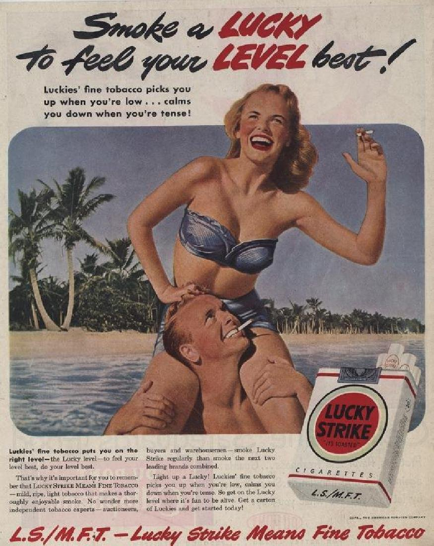 1949 Lucky Strike Cigarettes Beach Advertisement