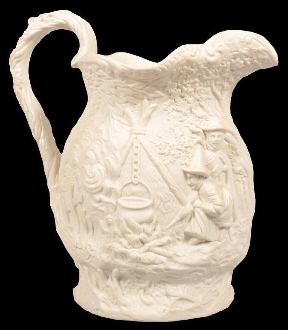 Mid 19thc English Parian Gypsy Pattern Pitcher
