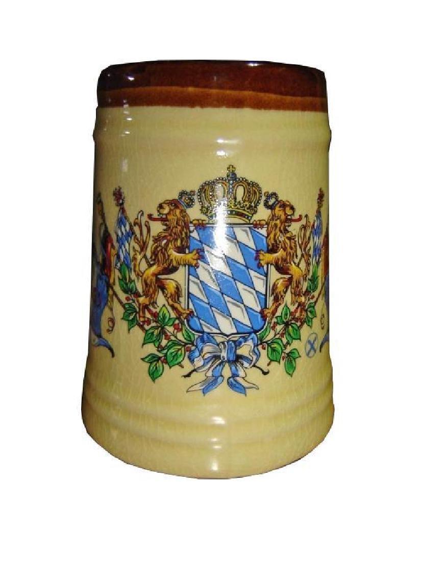 Vintage Lion Crest Ceramic Beer Stein Tankard