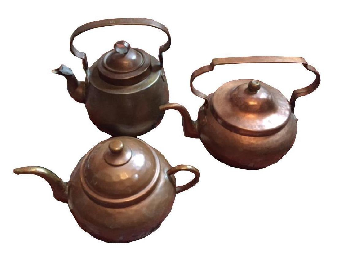 Set Of Antique Copper Kettles