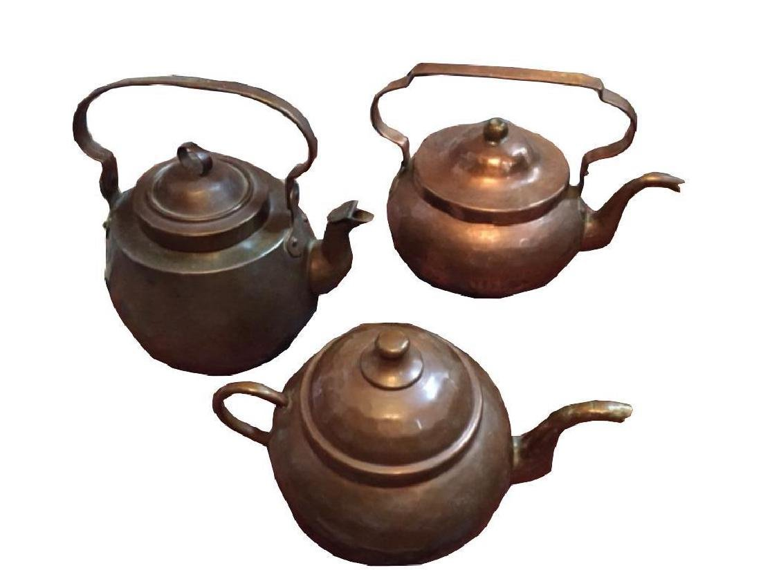 Set Of Antique Copper Kettles - 3