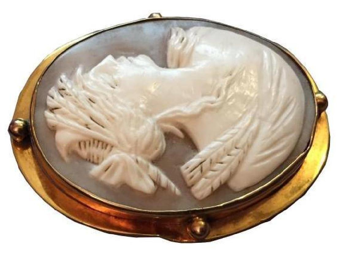 Late 19thc Gold Mounted Cameo Brooch Pendant - 3