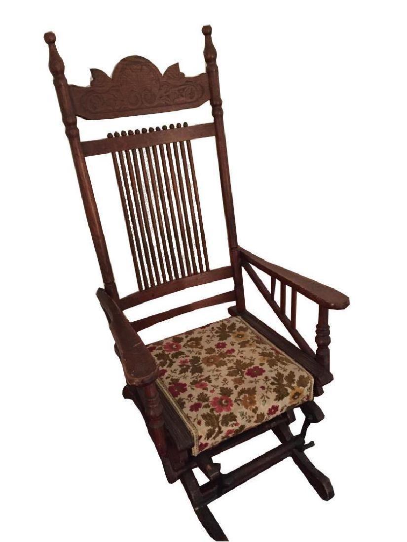 Late 19thc Victorian Oak Glyder Rocking Chair