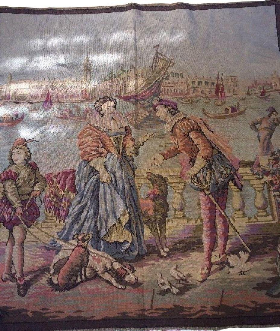 "Antique French Tapestry Lovers In Venice Italy 46"" X"